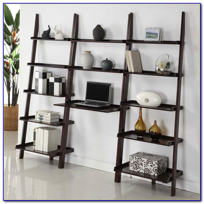 White Ladder Shelf With Desk