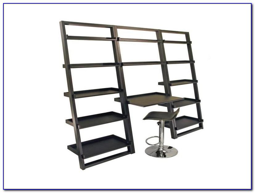 White Leaning Ladder Shelf With Desk