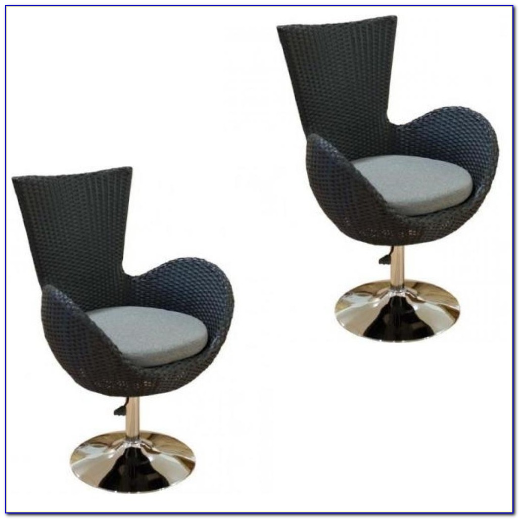 White Rattan Swivel Desk Chair