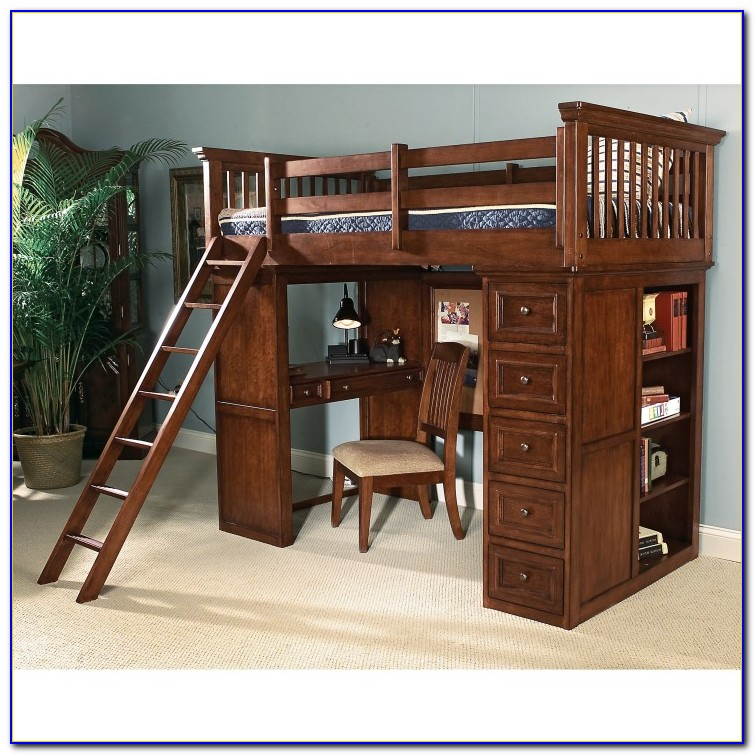 Wood Bunk Beds With Desk And Drawers
