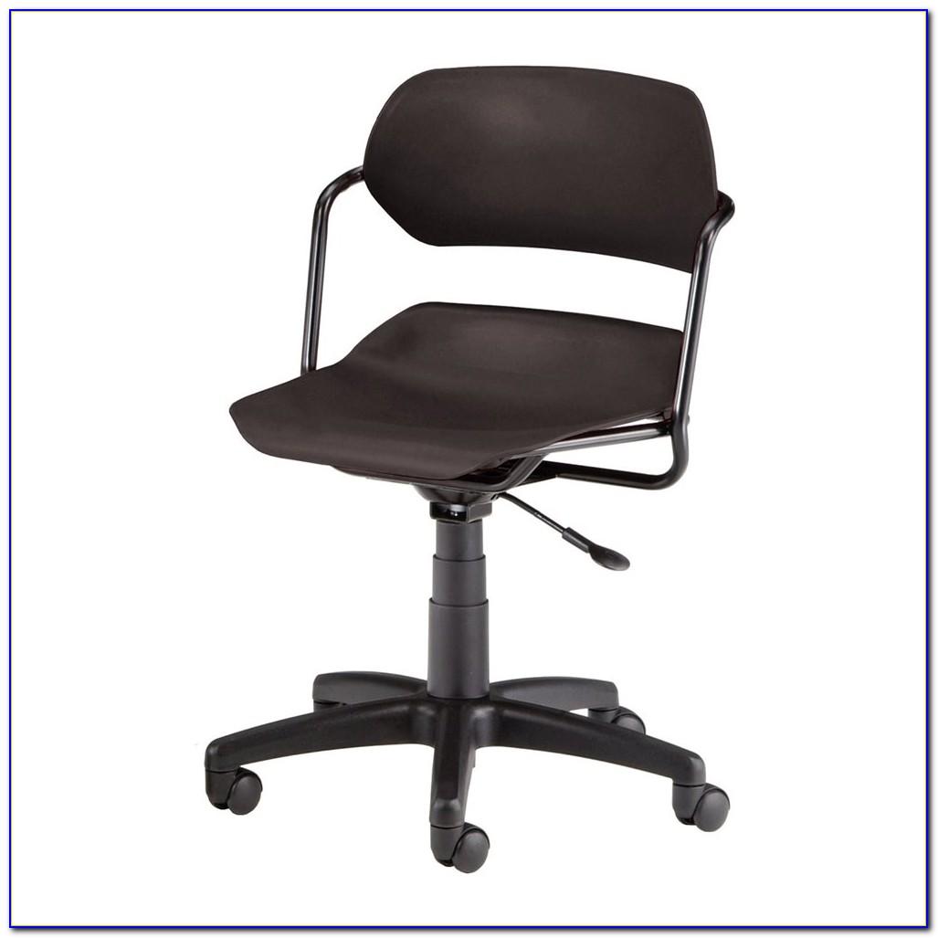 Wooden Armless Swivel Desk Chair