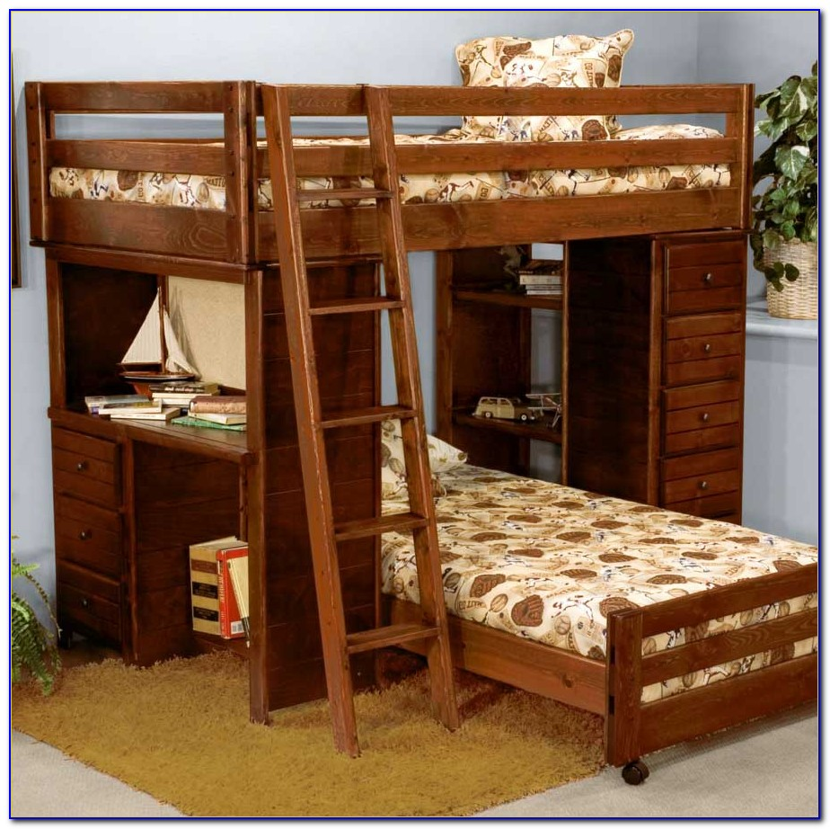 Wooden Bunk Beds With Drawers And Desk