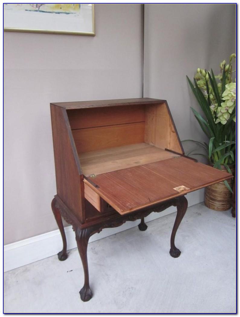 Antique Oak Drop Front Writing Desk