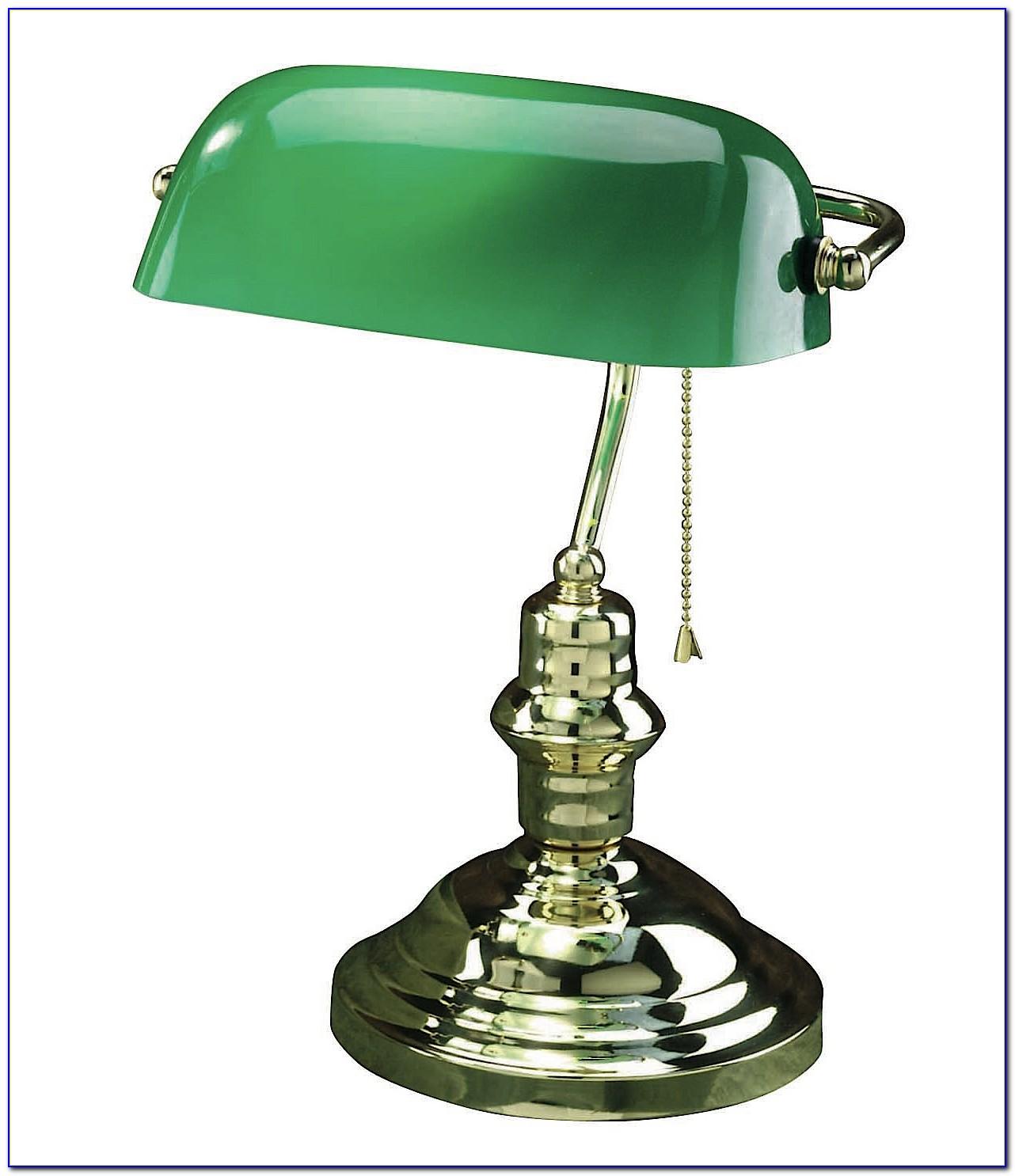 Bankers Desk Lamp Green Brass