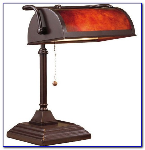 Bankers Style Desk Lamp Opal Glass Shade