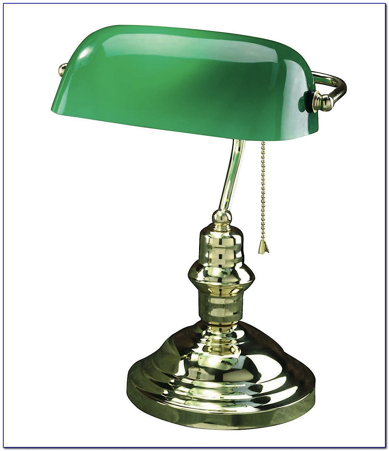 Bankers Style Desk Lamp With Green Glass Shade
