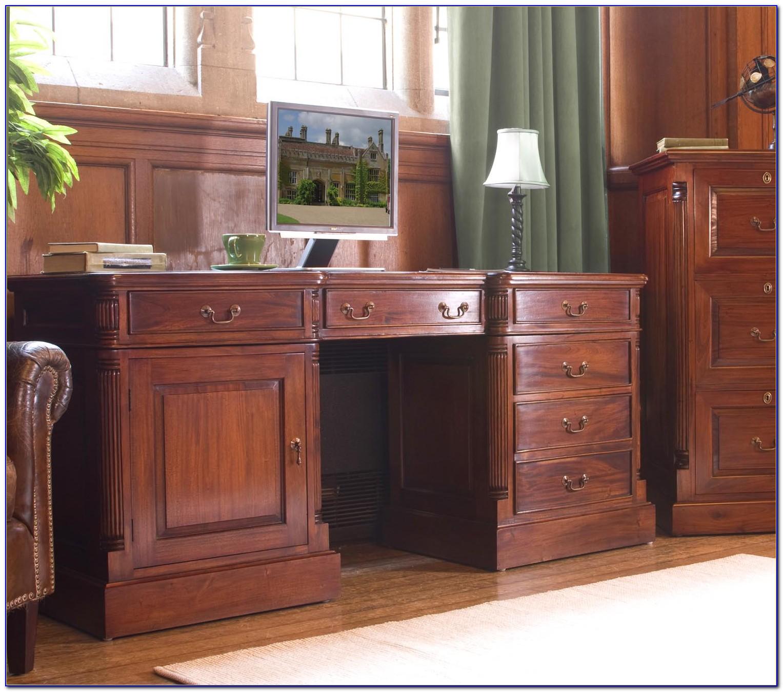 Baumhaus Hampton Twin Pedestal Hidden Computer Desk