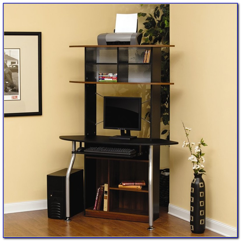 Black Finish Corner Computer Workstation Office Desk