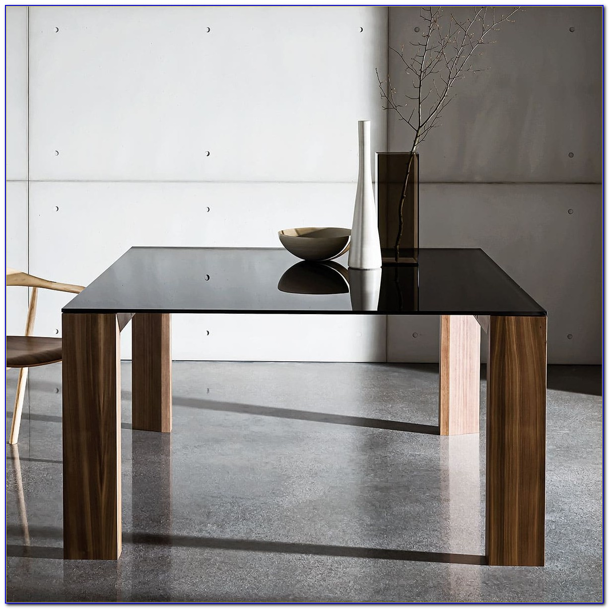 Black Wood And Glass Desk