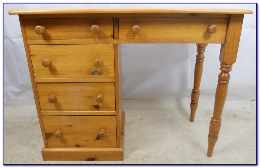 Blaine Industrial Pine Desk With Drawers