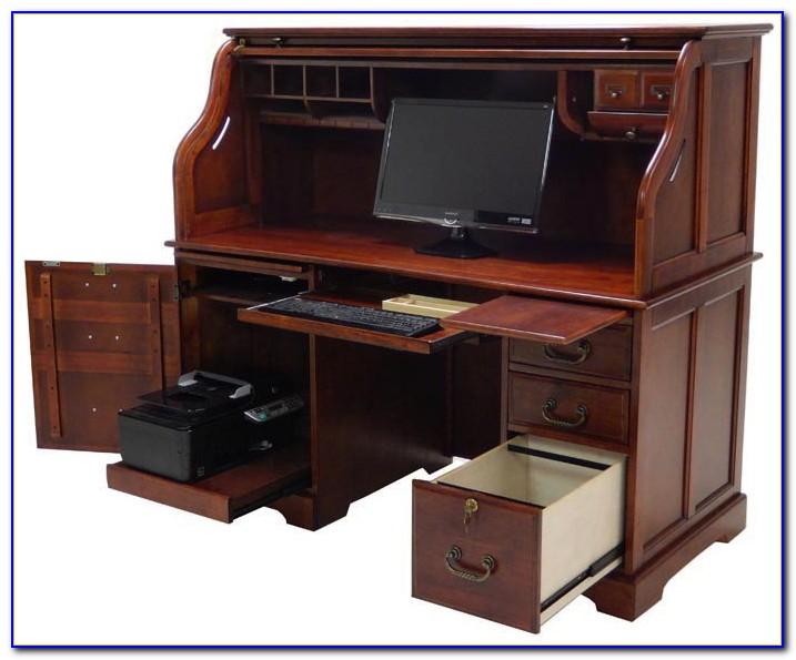 Cherry Roll Top Computer Desk