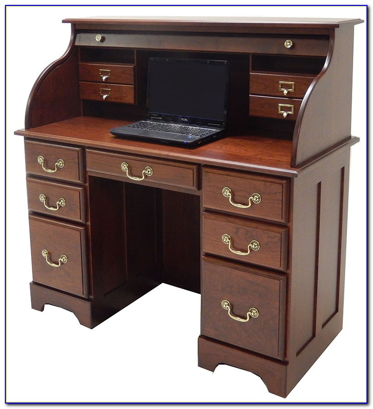 Cherry Wood Roll Top Computer Desks
