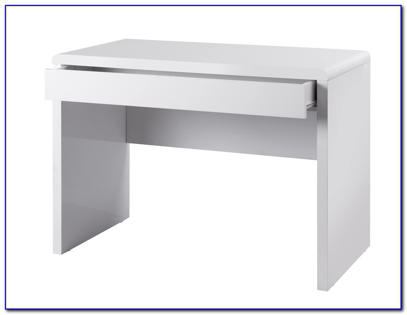 Claude Computer Desk In High Gloss White With Chrome Legs
