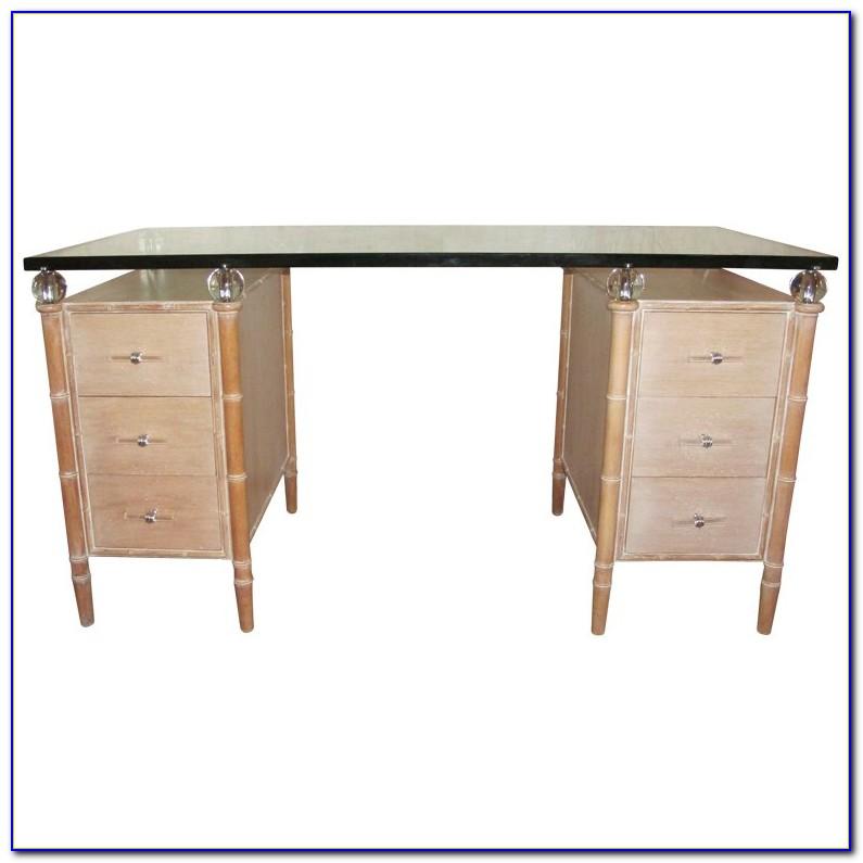 Dark Wood And Glass Desk