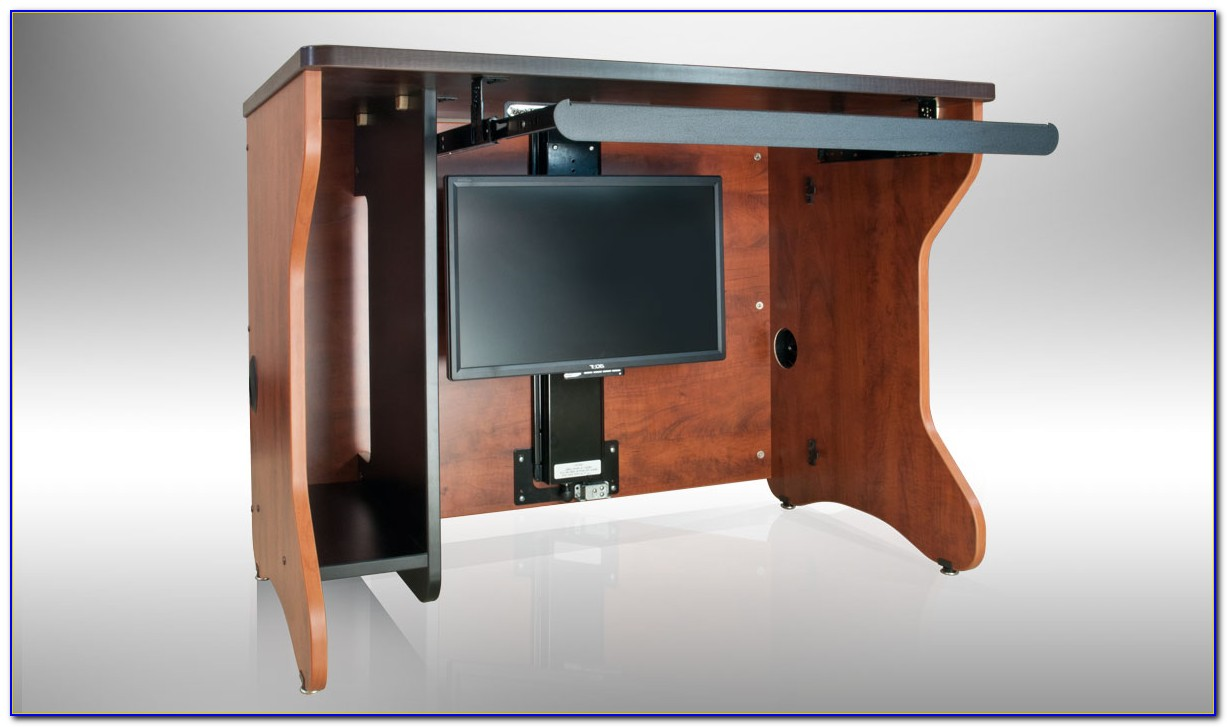 Desk With Hidden Monitor Lift