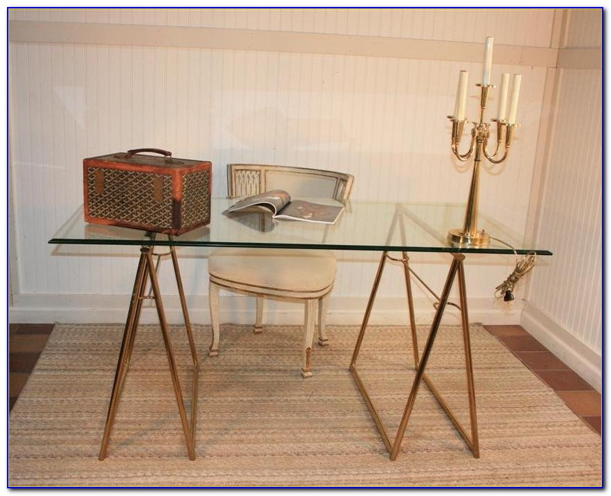 Glass Top Sawhorse Desk With Chrome Steel Legs