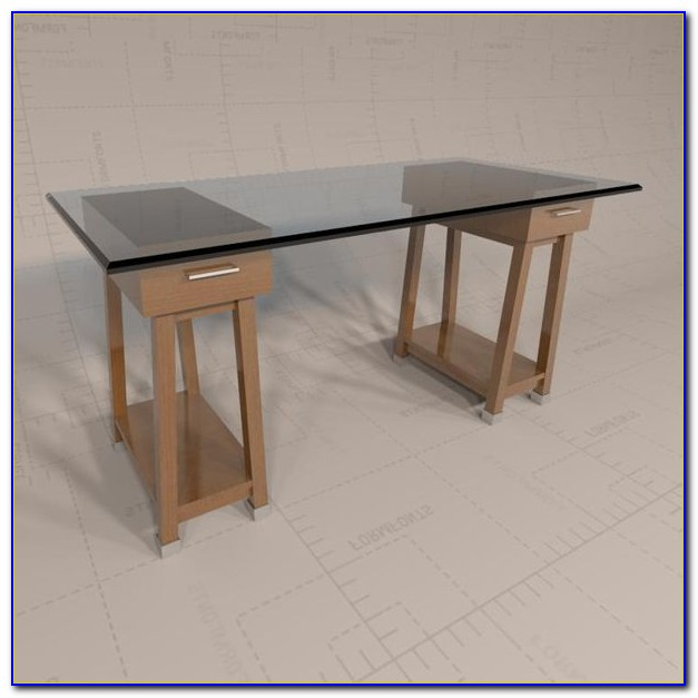Glass Top Sawhorse Table