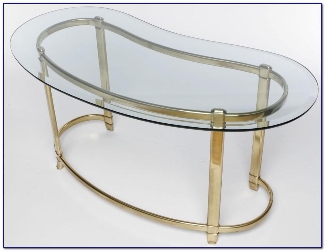 Kidney Shaped Glass Top Desk