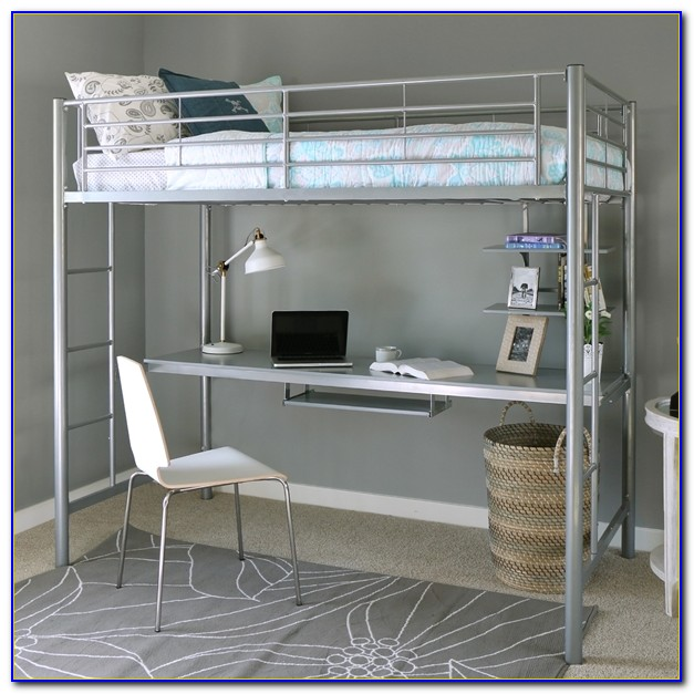 Metal Bunk Bed With Desk And Futon