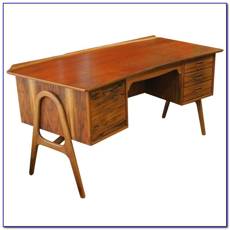 Mid Century Modern Teak Roll Top Desk