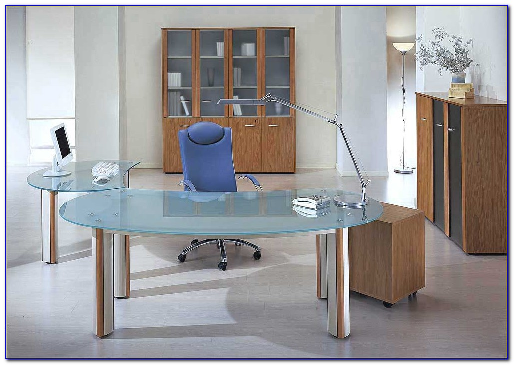 Modern Glass Executive Office Desk