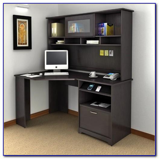 Morgan Corner Computer Desk And Hutch Black Oak