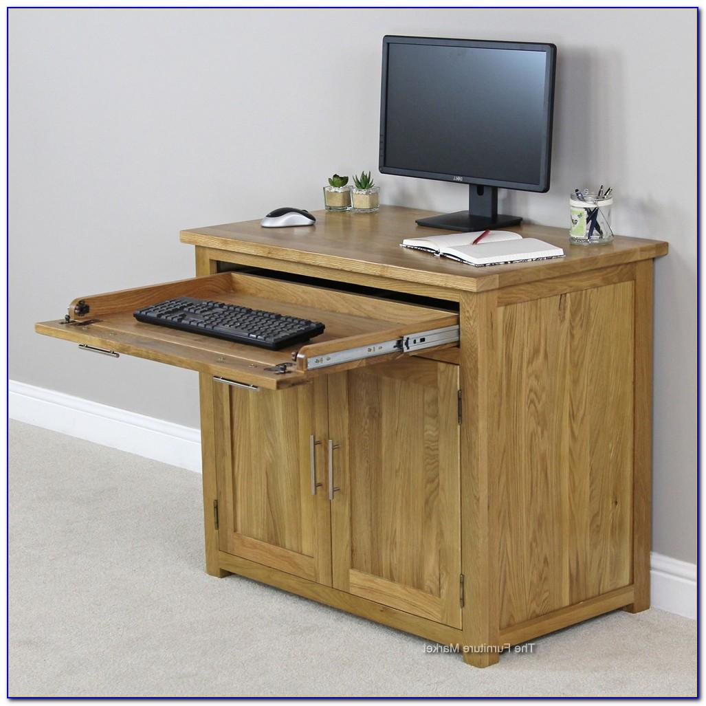 Oak Effect Hideaway Computer Desk