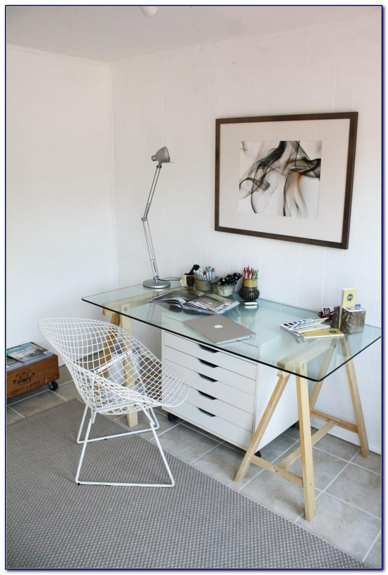 Polished Chrome Glass Top Sawhorse Desk