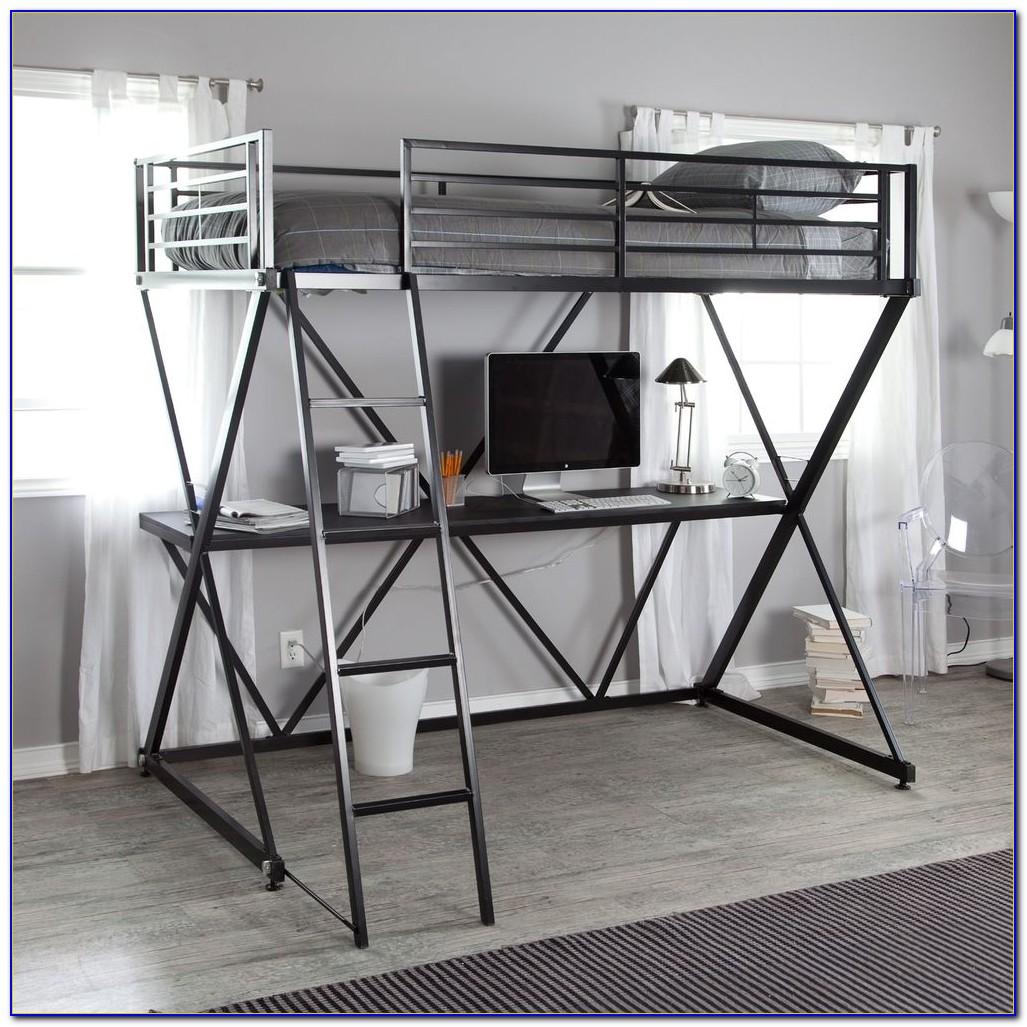 Silver Metal Bunk Bed Desk