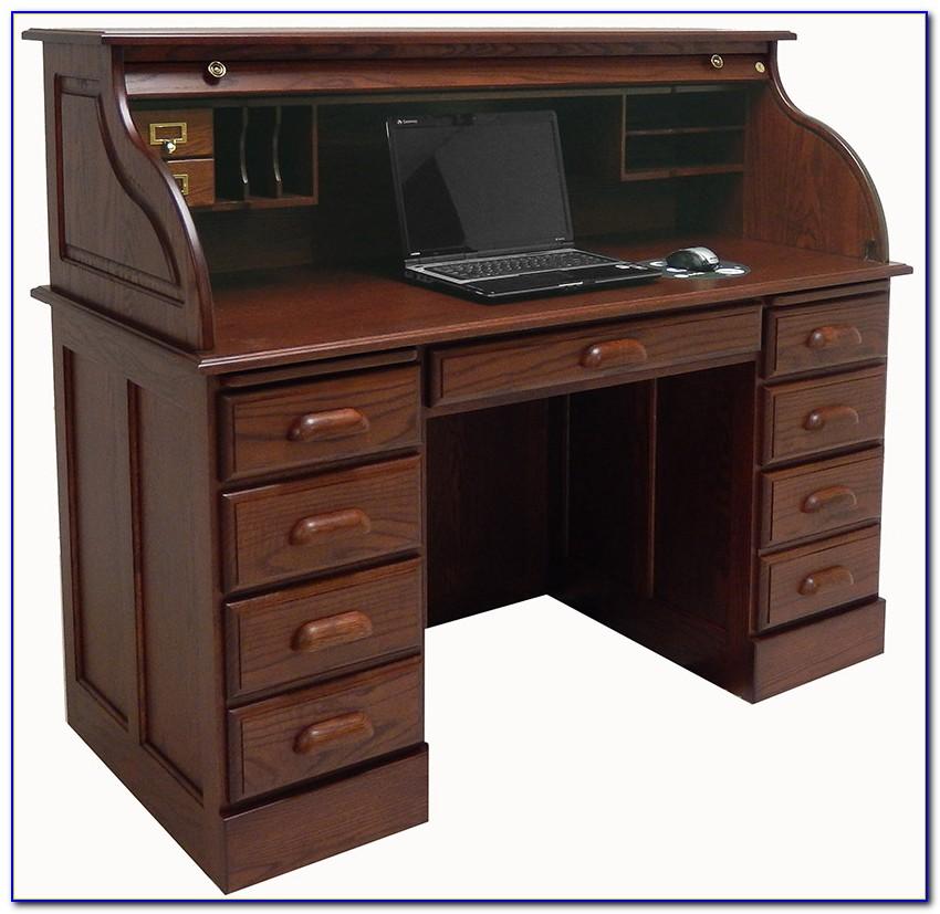 Solid Oak Roll Top Computer Desk