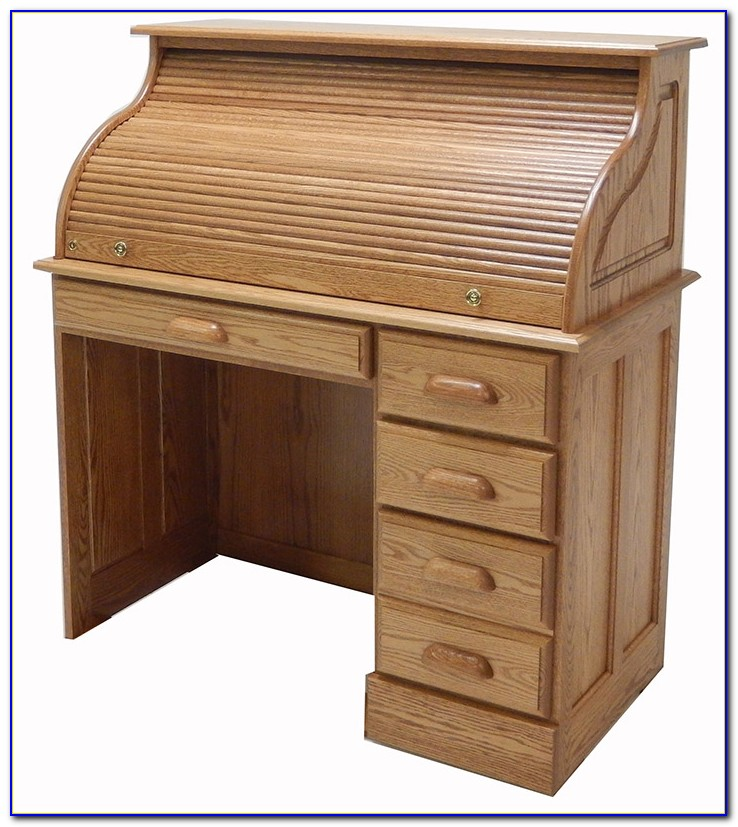 Solid Wood Roll Top Computer Desk