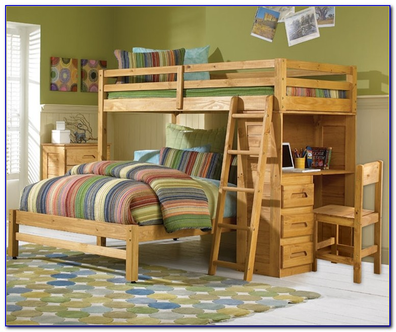 Space Saver Twin Over Twin Loft Bed With Desk Chest And Stairs