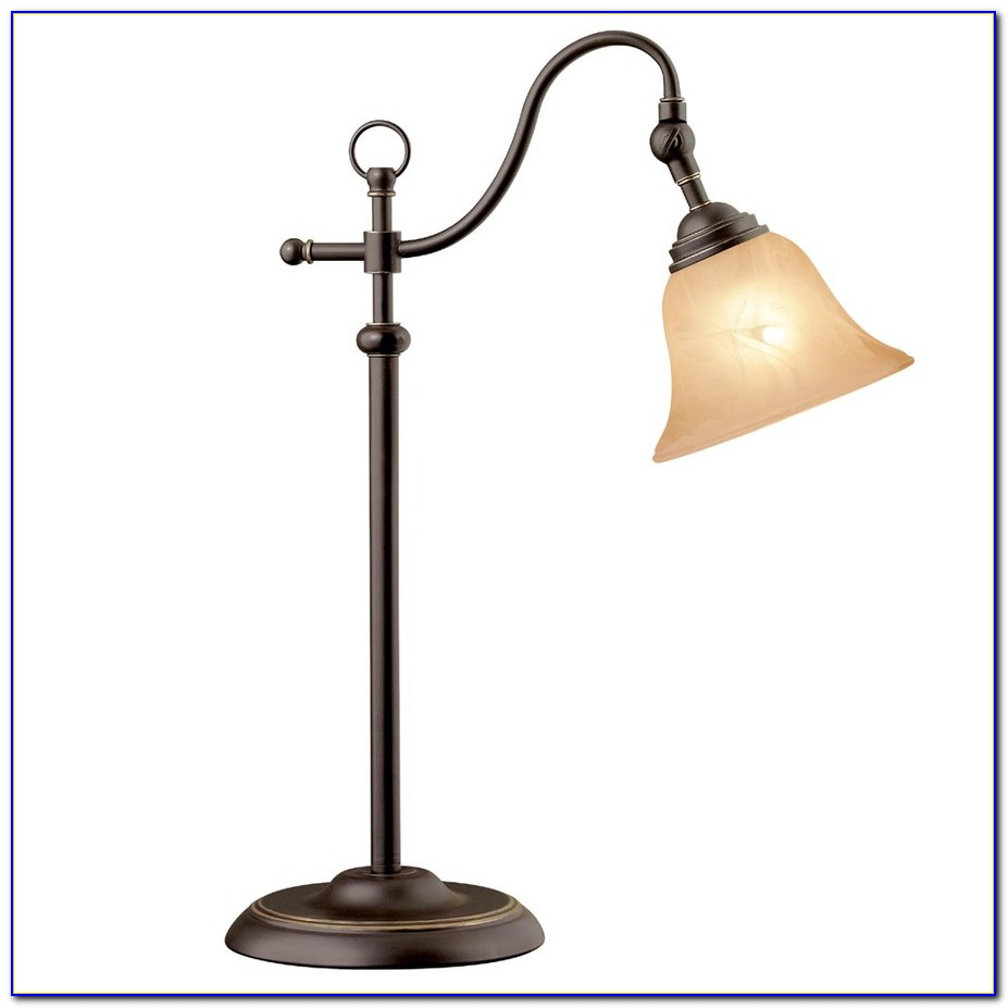 Table Lamp Blue Glass Shade