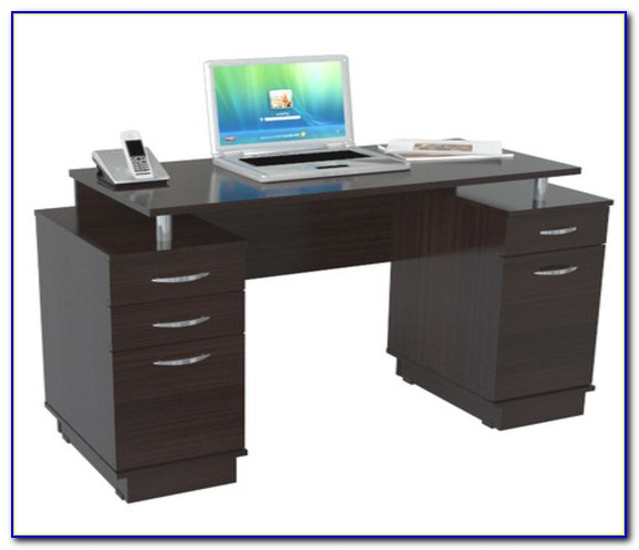 Technimobili Double Pedestal Laminate Computer Desk Black