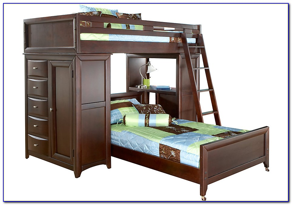 Twin Over Double Bunk Bed With Desk
