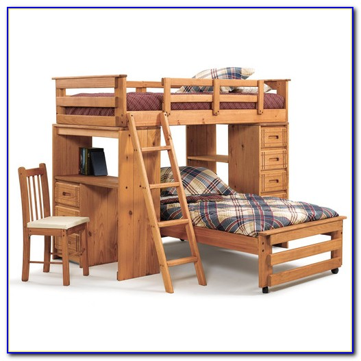 Twin Over Table Convertible Bunk Bed Maple