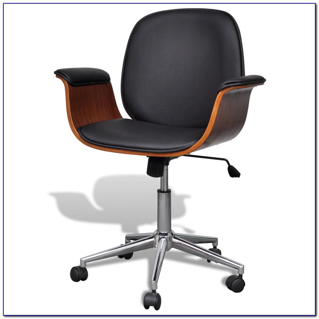 Vintage Leather Swivel Desk Chair