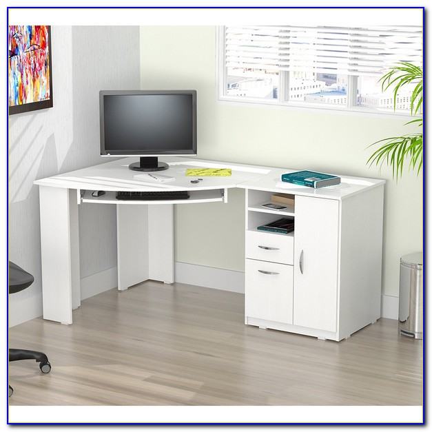 White Corner Computer Desk With Drawers