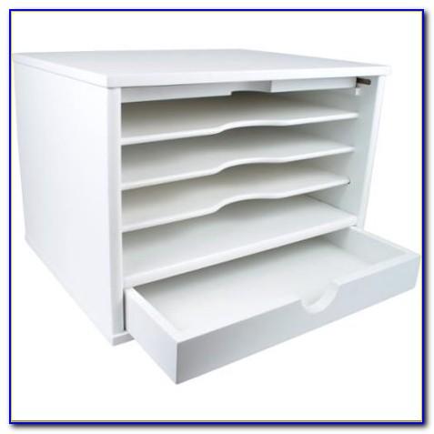 White Wood Desk Top Organizer