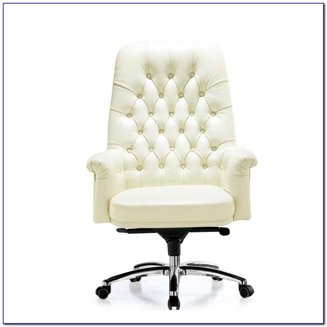 White Wooden Desk Chair With Wheels