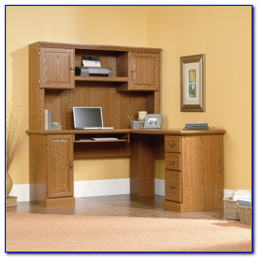 Wood Corner Computer Desk Hutch