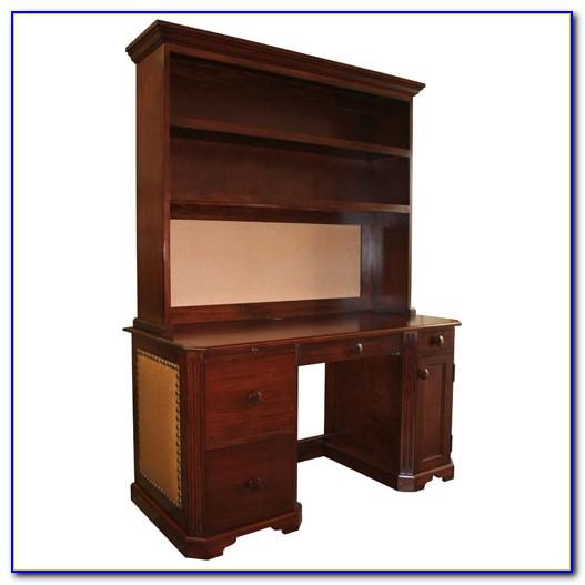 Wood Desk And Hutch Set