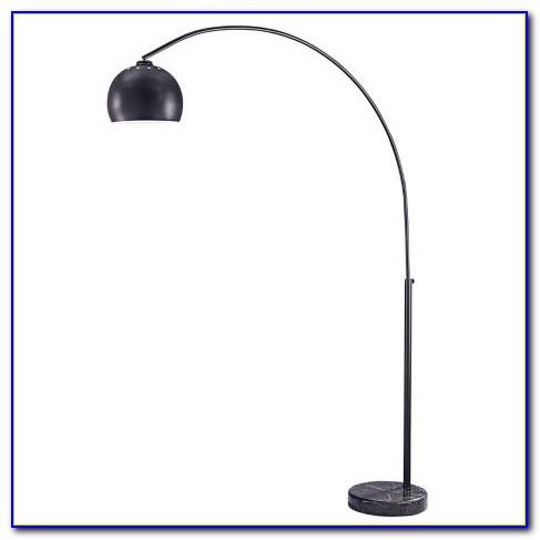 Bronze Boom Arc Floor Lamp With Linen Shade