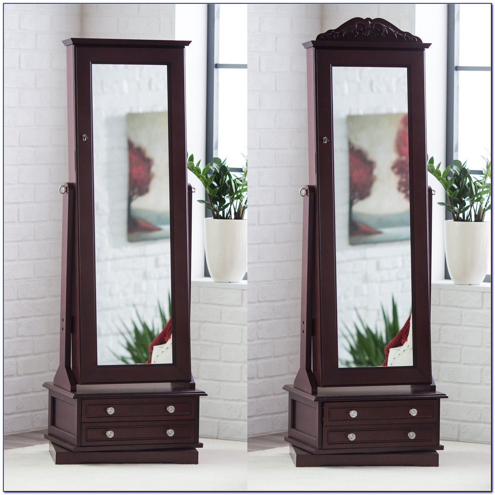 Floor Mirror With Jewelry Armoire Storage