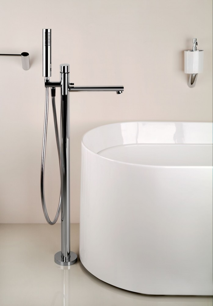 Floor Mount Tub Filler Brushed Nickel