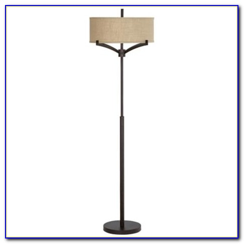 Franklin Iron Works Floor Lamp With Burlap Shade
