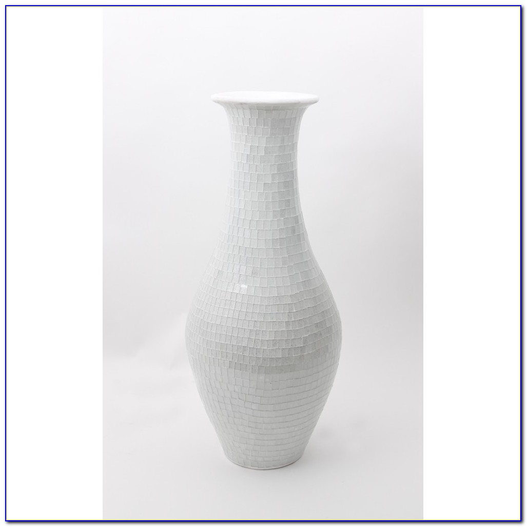 Tall White Ceramic Floor Vase