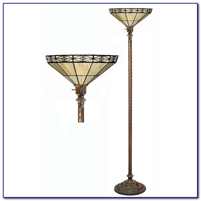 Tiffany Noir Mission Style Torchiere Floor Lamp With Vintage Bronze