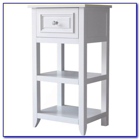 White Floor Cabinet With Drawers