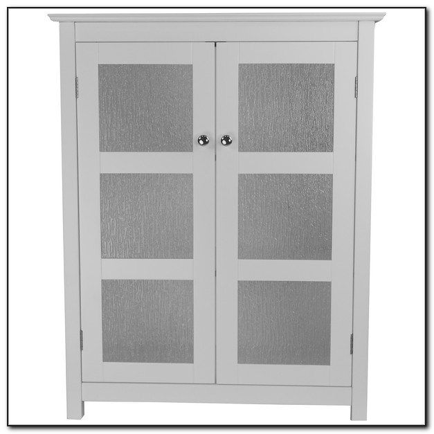 White Floor Cabinet With Glass Doors